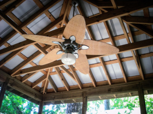 An overhead fan increases circulation and adds light to the space.